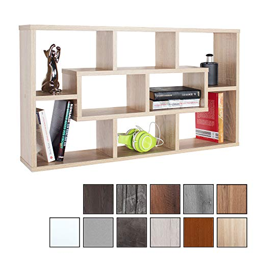 RICOO WM050-ES, Wandregal, 85x48x16 cm, Holz Eiche Sonoma Braun, Schmal, Mini, Hänge-Regal, Wand Bücher-Regal, Schwebe-Regal, Stand-Regal, Eck-Regal