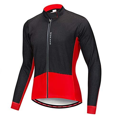 Cycling Jersey Fleece Cycling Bike Jacket Keep Warm Bicycle Long Sleeve Top Winter Jacket for Cycling Running Walking,Red,M