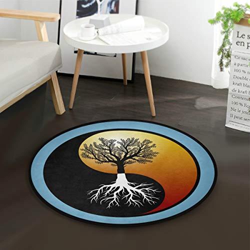 Mnsruu Tapis rond chinois arbre de vie Yin Yang pour salon chambre à coucher Diamètre 92 cm