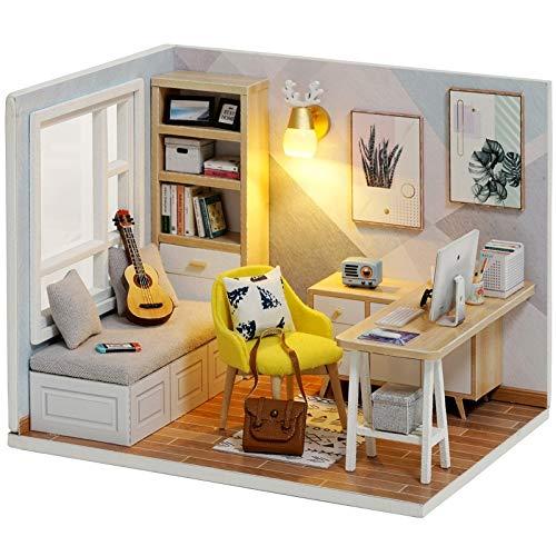 No-branded - Casa de muñecas en miniatura para bricolaje, modelo Dollhouse de madera, casas de muñecas, juguetes de regalo de cumpleaños ZHQHYQHX (Color: QT07, tamaño: libre)