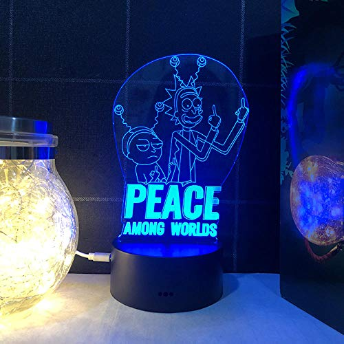 Luz de noche 3d Rick y Morty 16 color táctil control remoto luz de noche para niños dormitorio decoración lámpara de mesa-Táctil de 16 colores + control remoto_Rick y Morty