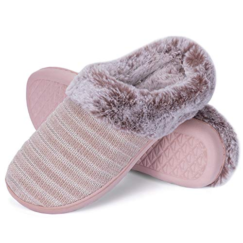 WFL Slippers for Women Memory Foam House Shoes Comfort Flat Home Slippers Pink 7-8M US