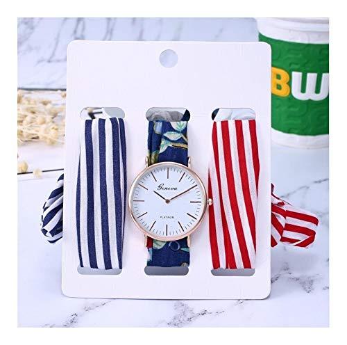 Tongjunmaoyi Vestidos Casuales Ladies Holiday Cinta de algodón Reloj Conjunto de Tela Reloj de Moda Reloj de Pulsera de Moda con Cintas 3pcs Reloj de Cuarzo (Color : 1)