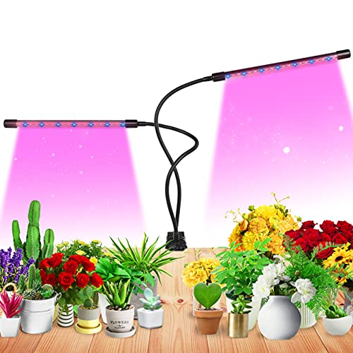 Grow Light for Indoor Plant Growing LED Grow Light 2heads 9 Dimmable Settings, Horizontal Plant Growth Lamp for Indoor Plants with Red/Blue Spectrum, Adjustable Gooseneck, 3/9/12H Timer (White)
