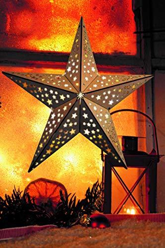 LED Stern aus Holz | mit 10 LED´s beleuchtet | kabellos | inkl. Fernbedienung | 40cm | Fensterstern | Holzstern | Weihnachtsdekoration | Adventsstern (40cm Sternoptik)