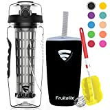 Fruitalite Fruit Infuser Water Bottle- 1 Litre, Colored Tritan Infusion Rod, Cover Sleeve