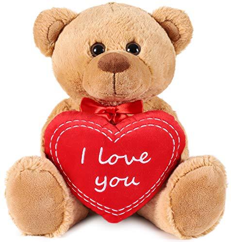 Brubaker Teddy Plüschbär mit Herz Rot - I Love You - 35 cm - Teddybär Plüschteddy Kuscheltier Schmusetier - Braun Hellbraun