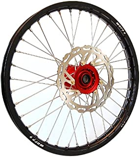 Warp 9 MX Complete Front Wheel - Red Hub with Black Painted Rim (21x1.60