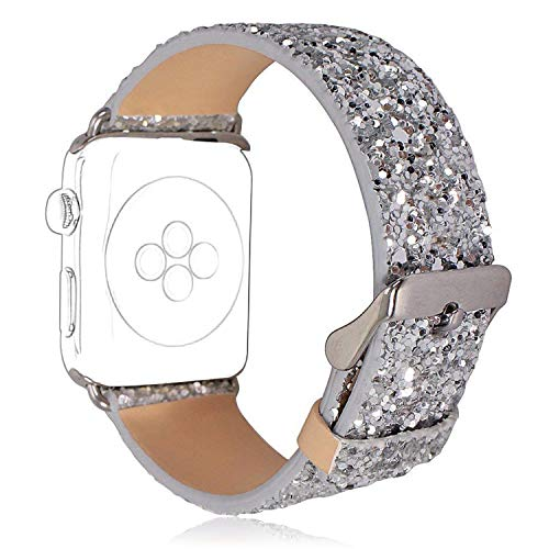 HICYCT Correa Apple Watch 42mm 38mm Pulsera iWatch de Reemplazo Ajustable, de Piel sintética, Brillante, con Purpurina,para iWatch Series 1, Series 2, Series 3 Sport Edition.