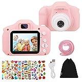 HOWAF Set de Cámara de Fotos Digital para Niños con Juegos, Cámara Fotos Infantil Digitales Selfie 1080P 2.0' HD Video Cámara niños 3-10 Años Niñas Regalos de Cumpleaños, y Acollador, Pegatinas, Rosa