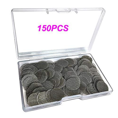 Imagen del productoGebildet 150 Piezas 20mm Filtros de Pipa de Fumar de Acero Inoxidable, Pantallas de Pipas, Filtros de Pantalla de Pipa para Fumar con Caja de Almacenaje (Color Plata)