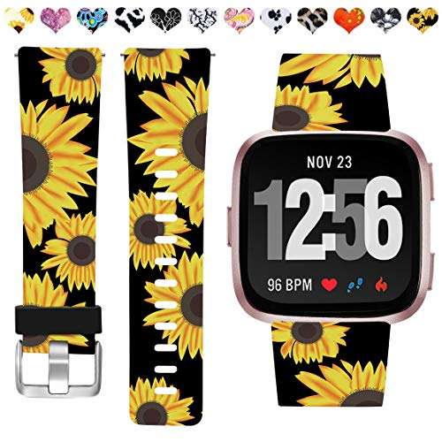 Maledan Compatible with Fitbit Versa 2 Bands for Women Girls, Fadeless Pattern Band Printed Floral Strap Replacement for Fitbit Versa Smart Watch and Versa Lite SE, Black Sunflower, Small