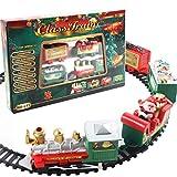 Eléctrico Trenes sobre Raíles Juguetes, Regalo de cumpleaños de Navidad para niños, Decoración del árbol de Navidad del hogar de la Fiesta del Tren de Papá Noel