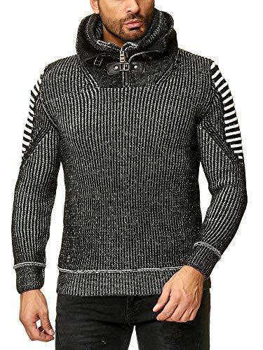 Redbridge Herren Pullover Hoodie Strickpullover Sweater Sweatshirt Schwarz L