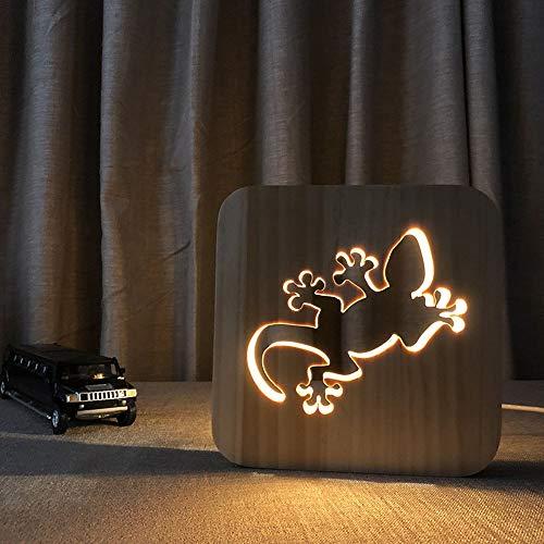 ChangHua1 Lámparas de escritorio Gecko creativas de dibujos animados lindos de madera luz nocturna 3D hueca LED lámpara de mesa decorativa USB dormitorio de los niños cumpleaños 19 x 19 cm escritorio