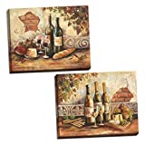wine and cheese canvas - Gango Home Decor Bountiful Wine | Rustic Italian Wine Cheese Grapes Vineyard; Two 14x11in Stretched Canvases; Ready to Hang!
