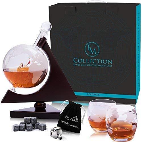 Whiskey Globe Decanter Set w/Triangular Wooden Stand, Whiskey stones, glasses, Bar Funnel & Cork: Satisfy Your Elegant Taste! Handmade Gift for Bourbon, Scotch, Sherry, Cognac, Brandy & Liquor Lovers