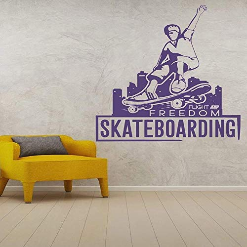 Frei fliegende Skateboard-Aufkleber für Heim- und Schlafzimmerdekoration Wand-Skateboard-Aufkleber abnehmbar 45x57cm