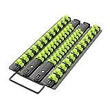 Olsa Tools Socket Organizer Tray   Black Tray with Green Clips   Holds 48 Pcs Sockets   Premium Quality Tools Organizer