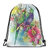 Nisdsgd Drawstring Shoulder Backpack Travel Daypack Gym Bag Sport Yoga, Faded Flowers and Love Parrots Botanical Flora with Romantic Orchids Wings Boho Artful Work,5 Liter Capacity,Adjustable.