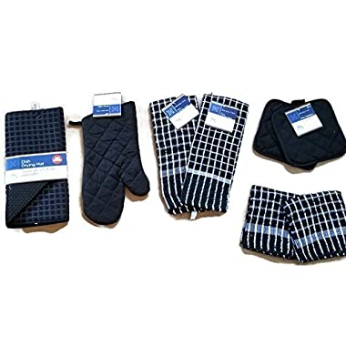 Black Kitchen Linen Bundle Package Oven Mitts (1) Pot Holder (2) Kitchen Towels (2) Terry Dish Cloths (2), Dish Drying Mat (1)