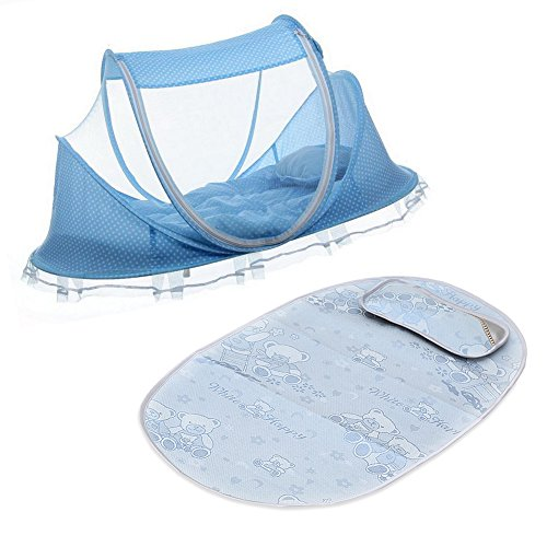 Set of 5 Baby Travel Bed,Baby Bed Portable Folding Bed Crib,Pop up Mosquito Net Tent with Sleeping Pad & Cooling Mat & Pillow for Kids,Blue