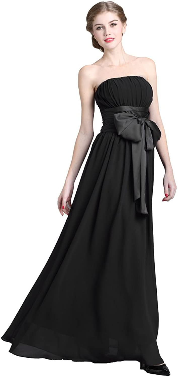 Denovelty Women's Empire Waist Evening Gown Bridesmaid Dress Black XLarge