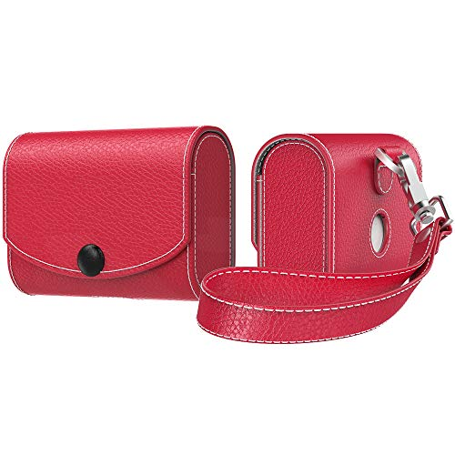 MoKo Etui Fit AirPods Pro 2019, magnetyczne zapięcie na zatrzask skóra PU moda styl pełna osłona ochronna torba do noszenia kieszeń z paskiem do trzymania na Airpods Pro bezprzewodowe słuchawki ładowarka - czerwony