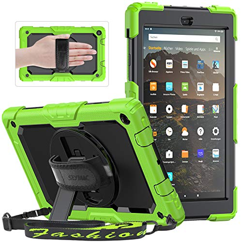 SEYMAC Cover for All-New Amazon Fire HD 10 Tablet 10.1' (7th / 9th Generation, 2017/2019 Release), Sturdy Case with Shoulder Strap, 360 Rotating Hand Strap/Stand, Screen Protector for Kids, Green