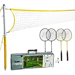 FUN FOR EVERYONE: This go to complete badminton set is a classic sport that can be enjoyed by all ages. This Badminton set includes all that you need for a day outside EASY TO ASSEMBLE POLE SYSTEM includes a 1. 25 inches diameter poly pole, 5 feet 1 ...