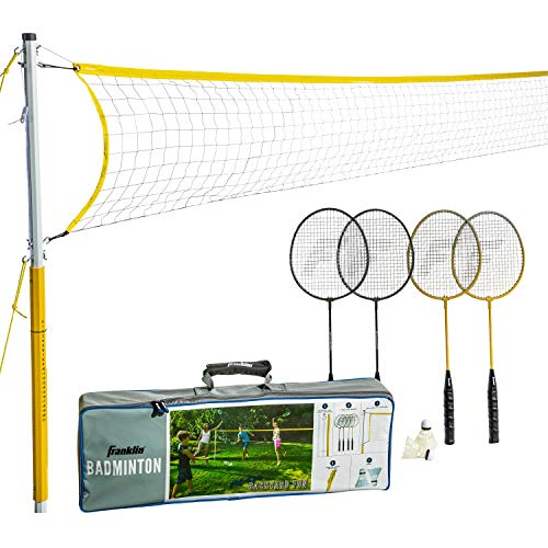 Franklin Sports 52632 Badminton Set - Backyard Badminton Net Set - Rackets and Birdies included - Backyard or Beach Badminton Set - Family Set