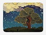 """Aliyz Nature Alfombrilla baño Funk Art Vibrant Starry Night Sky Puffy Clouds Tree Illustration Print Alfombra Felpa para decoración baño Respaldo Antideslizante 15.7""""X 23.6"""" Multicolor"""
