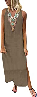 Khaki,L Summer Dresses For Women Clearance/'s Printed Sleeveless V-neck Maxi Dress Split Hem Baggy Kaftan Long Dress For Anniversary,Party,Valentines Day