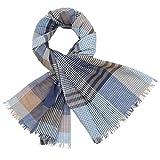 LINDENMANN Herren Schal Sommer / 100% Baumwolle, Herrenschal, blau-beige-schwarz