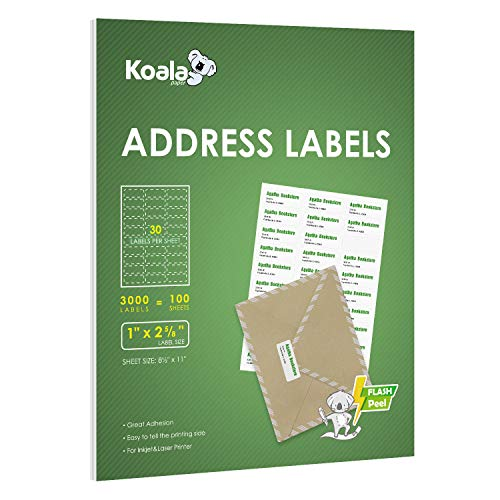 Koala Address Mailing Shipping FBA Barcode Adhesive Labels 30 per Sheet - 1x2-5/8 Inch - 100 Sheets 3000 Labels for Laser/Inkjet Printers, 30-UP