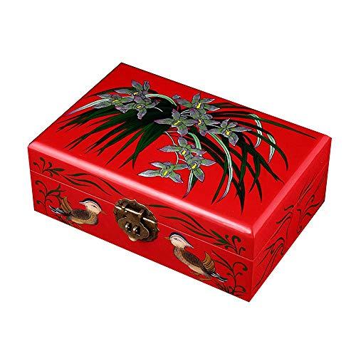 Schmuck-Box, Holz, chinesische Aufbewahrungsbox, Dressing-Box, Schmuck-Box, Lack Schmuckkasten, Schenken, Lotus