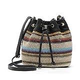 NKSS Mujeres Estilo Cordón Bolsos Lienzo Bolso De Hombro Cuerda Raya Buck Buck Bag Bag Satchel Saco-Negro_24Cmx25Cmx10Cm