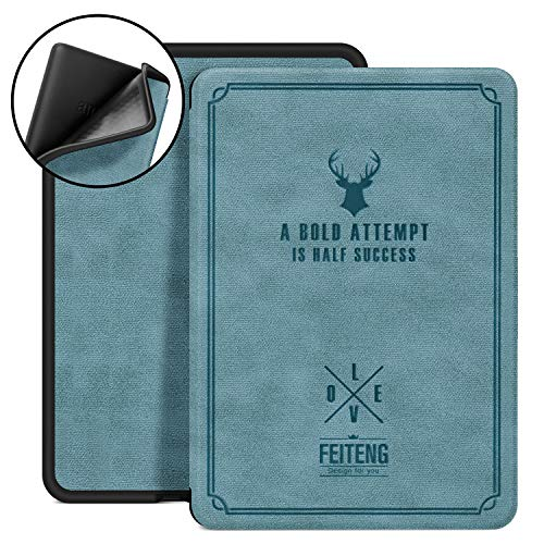 Ayotu Silicone Soft Case for Kindle Paperwhite 2018 - Soft Smart Cover with Auto Wake/Sleep - Fits Amazon All-New Kindle Paperwhite Leather Cover (10th Generation-2018) Retro Series K10 Lake Blue