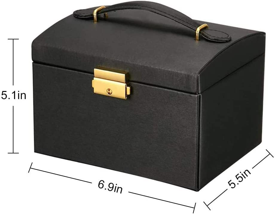 black Yugefom Jewelry Box Faux Leather Jewelry Organizer for Earring Bangle Bracelet Necklace and Rings Storage Best Gift for Women Girl