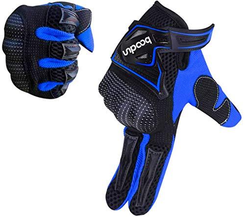 ARTOP Guantes de Moto, Guantes Transpirable de Moto Cruzada con Funda Protectora de PVC para Hombre Primavera-Verano-Otoño(Azul,M)