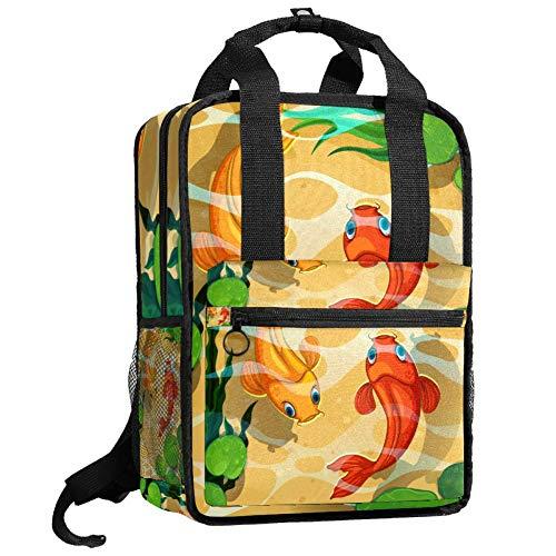Mochila de viaje para ordenador o estudiante, bolso de mano, informal, regalo para hombres y mujeres, peces japoneses Koi carpas