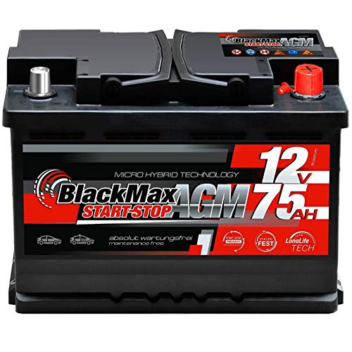BlackMax AGM Autobatterie 12V 75Ah PKW Start-Stop Batterie ersetzt 70Ah 68Ah