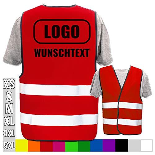 Warnweste selbst gestalten mit eigenem Aufdruck * Bedruckt mit Name Text Bild Logo Firma, Position & Druckart:Rücken/Standard-Druck, Farbe & Größe:Rot/Größe 3XL/4XL