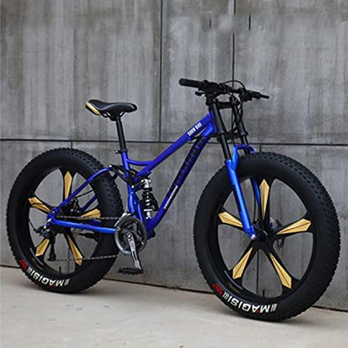 SHUI 26'' Bicicletas De Montaña para Adultos, Bicicleta Montaña con Neumáticos Gruesos, Bicicleta De 7/21/24/27 Velocidades, Marco De Acero Liviano con Alto Contenido Car Blue-7 Speed