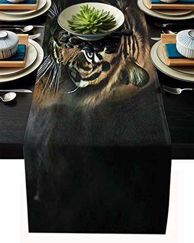FAMILYDECOR Camino de mesa de arpillera de lino para mesas de comedor, 35,5 x 182,8 cm, misterioso camino de mesa de granja de tigre de Bengala para fiestas de vacaciones, cocina, decoración d