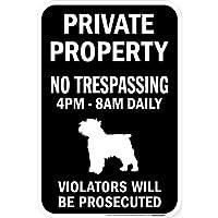 PRIVATE PROPERTY ブラックマグネットサイン:ブリュッセルグリフォン シルエット 英語 私有地 無断立入禁止