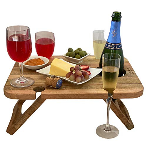 Kango Mango Portable Folding Wine and Champagne Picnic Table - for Wine...
