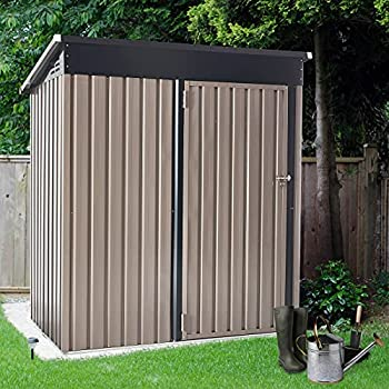 U-MAX 5  x 3  Outdoor Metal Storage Shed Steel Garden Shed with Single Lockable Door Tool Storage Shed for Backyard Patio Lawn