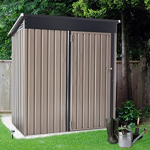 U-MAX 5  x 3  Outdoor Metal Storage Shed, Steel Garden Shed with Single Lockable Door, Tool Storage Shed for Backyard, Patio, Lawn