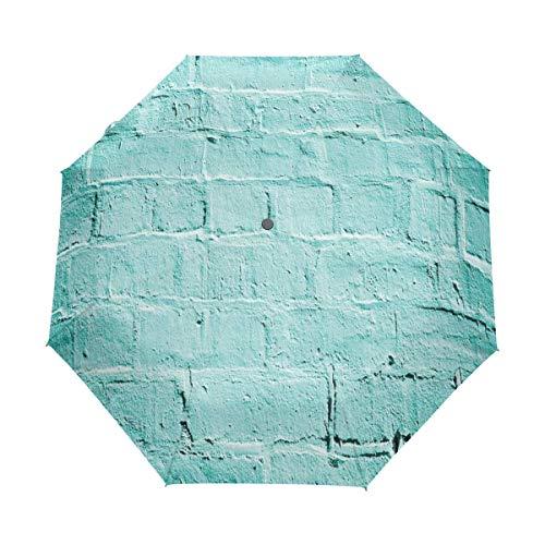 SUHETI Regenschirm Taschenschirm,Backstein alte Wand Hintergrund in lebendigen Tönen Architektur Urban Building Artsy Bild,Auf Zu Automatik,windsicher,stabil